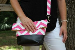 """Flipping Convenient"" cross body bag in pink and white chevron"