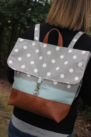 """The """"Handy Haversack"""" in gray polk-a-dot and coordinating blue canvas with faux leather trim"""