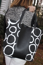 Large Faux Leather and Canvas Tote