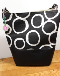"Black and White geometric print ""Bucket Bag"""