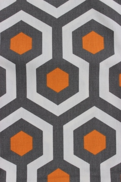 gray and yellow hexagon fabric